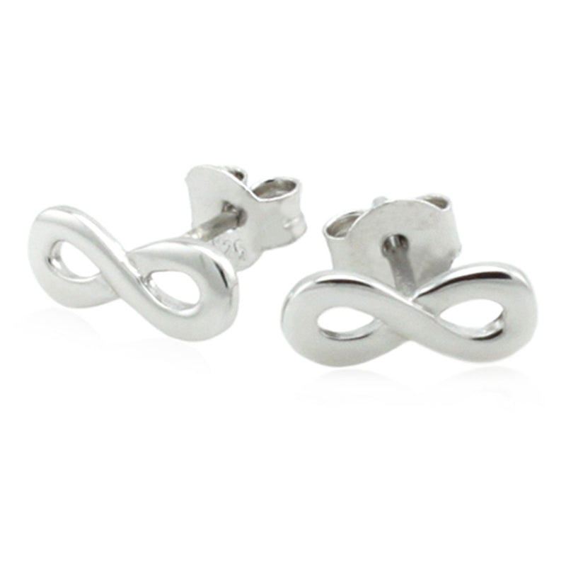 Sterling Silver Minimalist Infinity Stud Earrings - Tioneer