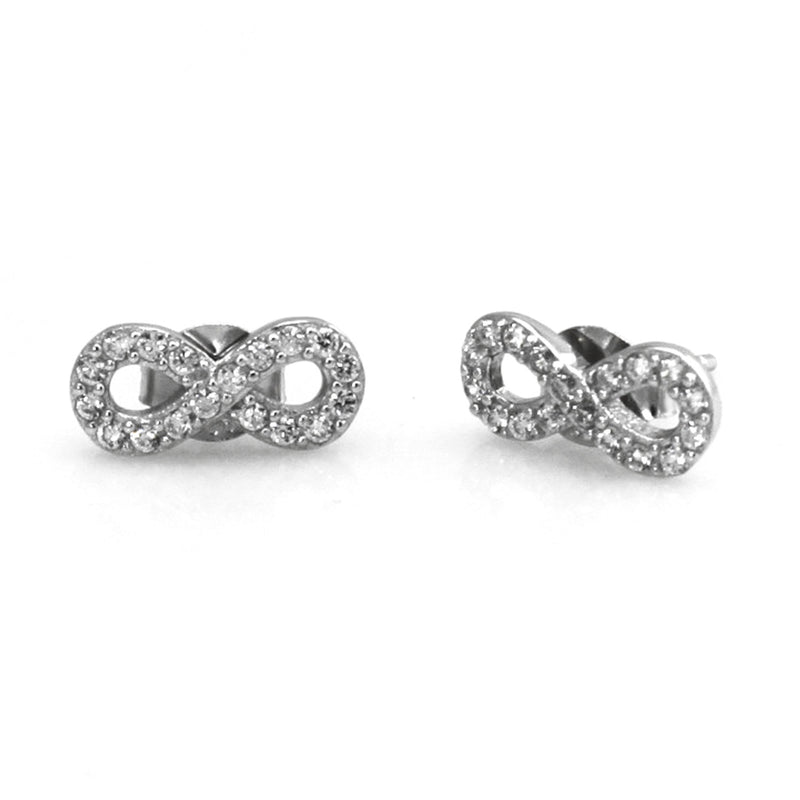 Sterling Silver Infinity Cubic Zirconia Stud Earrings - Tioneer
