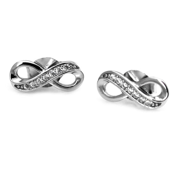Sterling Silver Infinity Half Cubic Zirconia Stud Earrings - Tioneer