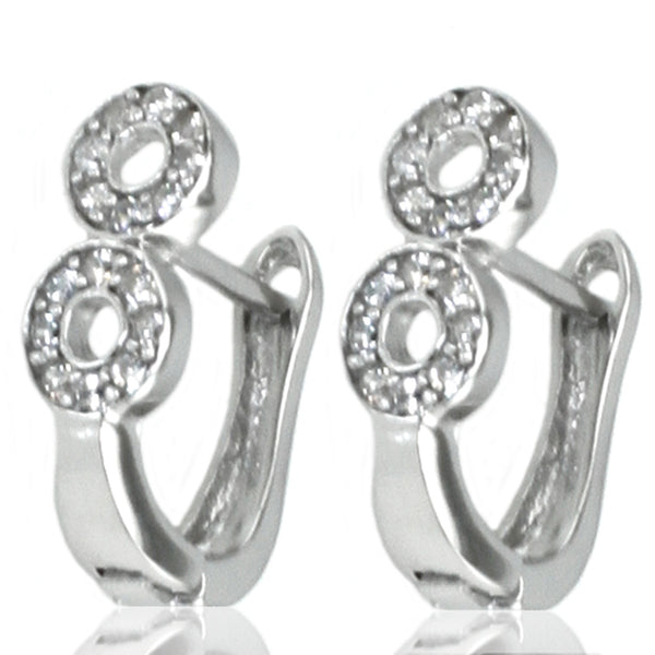 Sterling Silver Figure 8 Cubic Zirconia Earrings - Tioneer