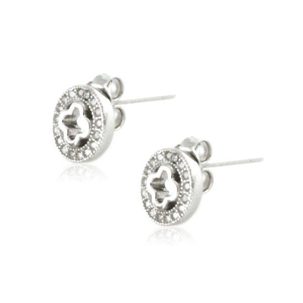 Sterling Silver Cubic Zirconia Channel Celtic Circle Stud Earrings - Tioneer