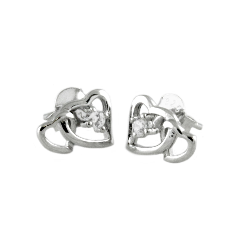 Sterling Silver Interlocked Hearts Stud Earrings - Tioneer