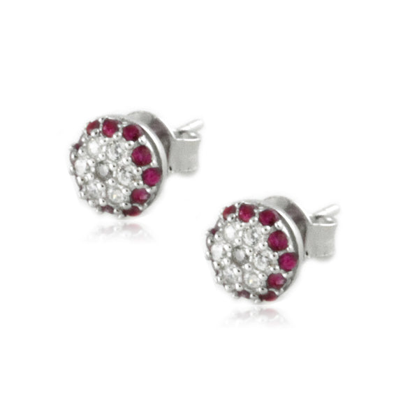 Sterling Silver Red and White CZ Dome Stud Earrings - Tioneer