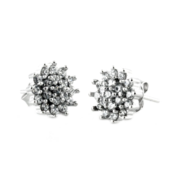 Sterling Silver Chrysanthemum Flower Round Stud Earrings - Tioneer