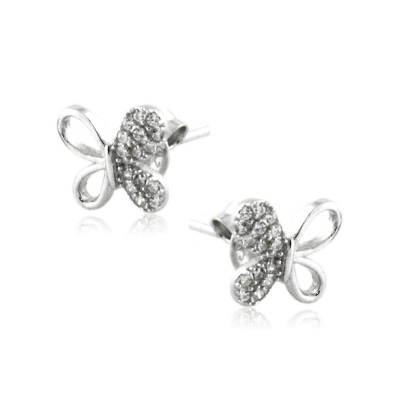 Sterling Silver CZ Half-Paved Butterfly Stud Earrings - Tioneer