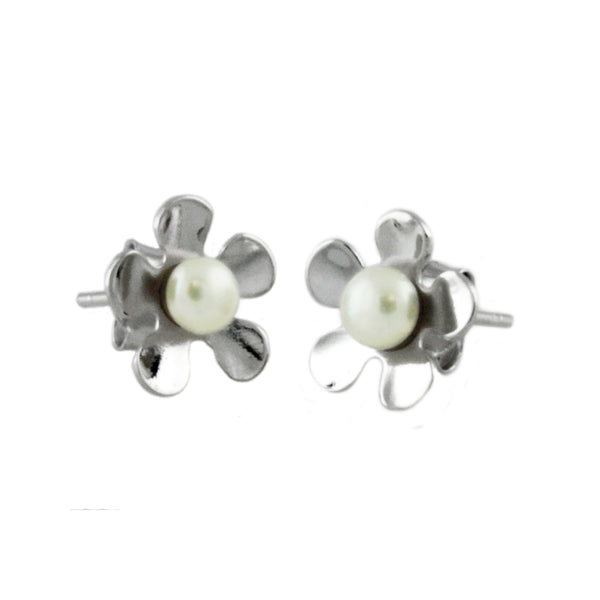 Sterling Silver Sakura Cherry Blossom Simulated Pearl Stud Earrings - Tioneer