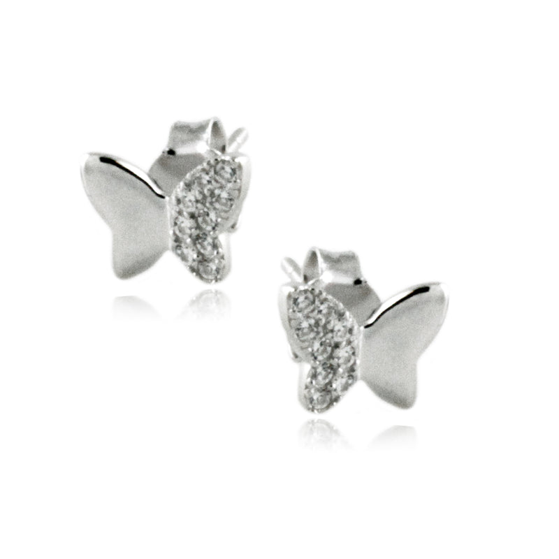 Sterling Silver Solid Half-Pave Cubic Zriconia Butterfly Stud Earrings - Tioneer