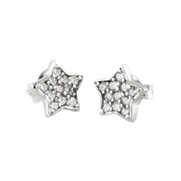 Sterling Silver Cubic Zirconia Paved Star Stud Earrings - Tioneer