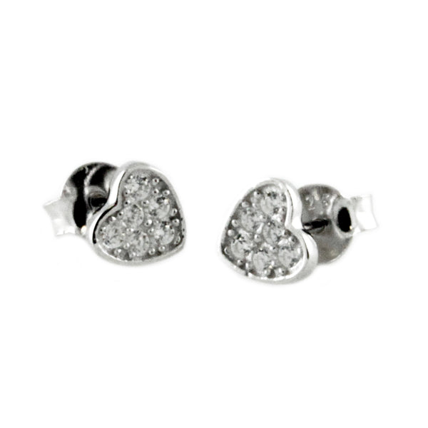 Sterling Silver Paved Cubic Zirconia Petite Hearts Stud Earrings - Tioneer