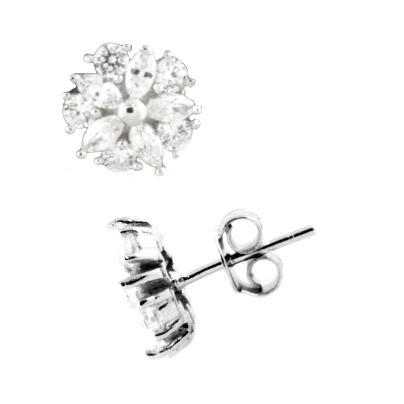 Sterling Silver Cubic Zirconia Pinwheel Flower Stud Earrings - Tioneer