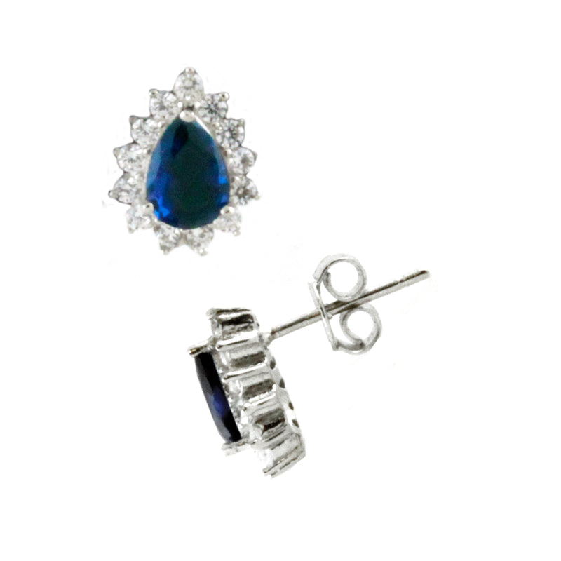 Sterling Silver Sapphire Blue Colored Teardrop Stud Earrings - Tioneer