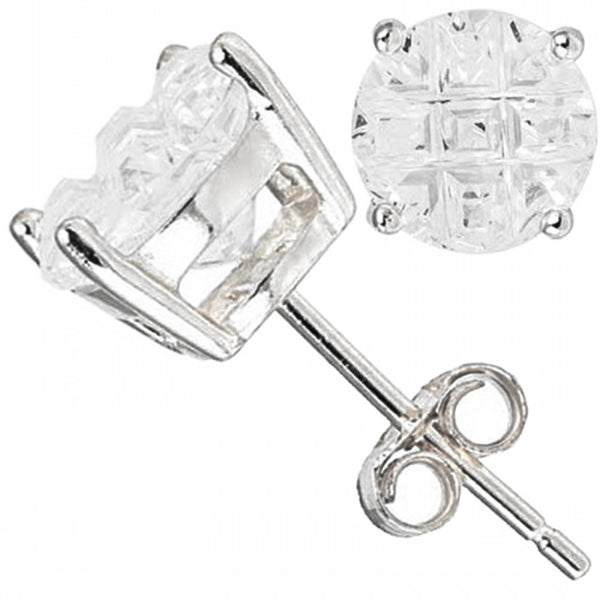 Sterling Silver Minimalist Beveled Cross Cut Cubic Zirconia Stud Earrings - Tioneer