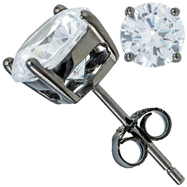 Sterling Silver Minimalist Cubic Zirconia Stud Earrings - Tioneer