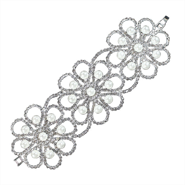 Fashion Floral Design Crystal and Pearl Bracelet - Tioneer