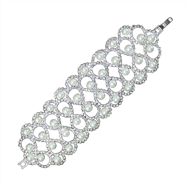 Fashion Elegance Crystal and Pearl Design Bracelet - Tioneer