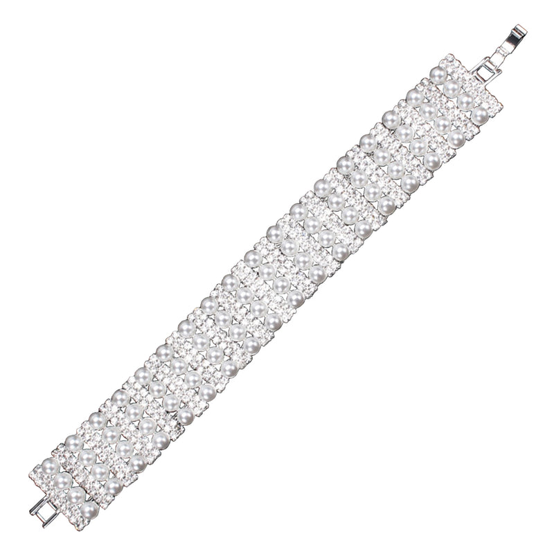 Fashion Crystal and Pearl Broad Bar Design Bracelet - Tioneer
