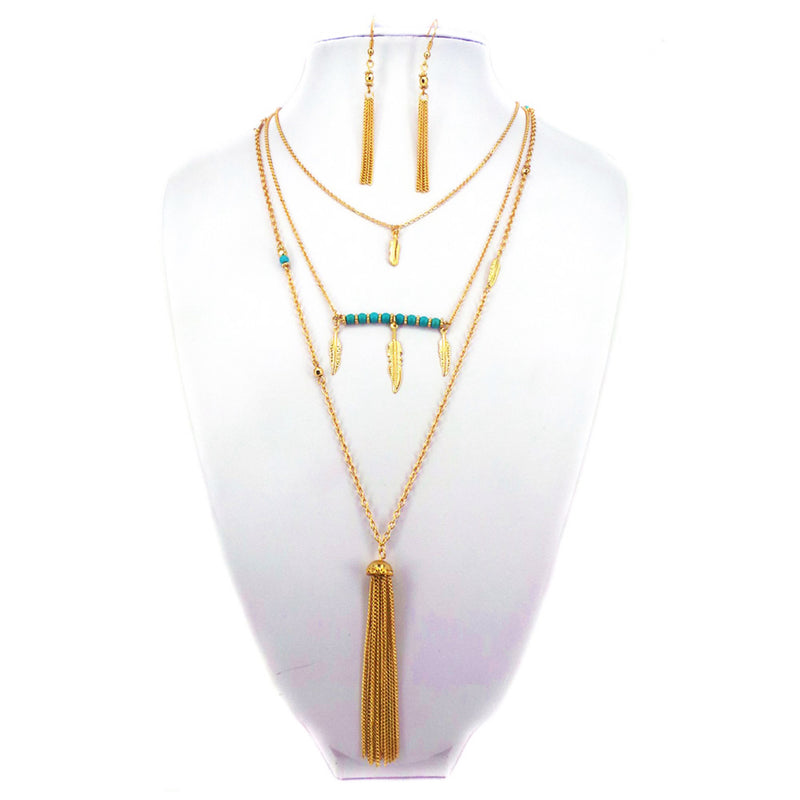 Fashion Chain Tassel & Feather Charm Long Strand Necklace and Earrings Set - Tioneer