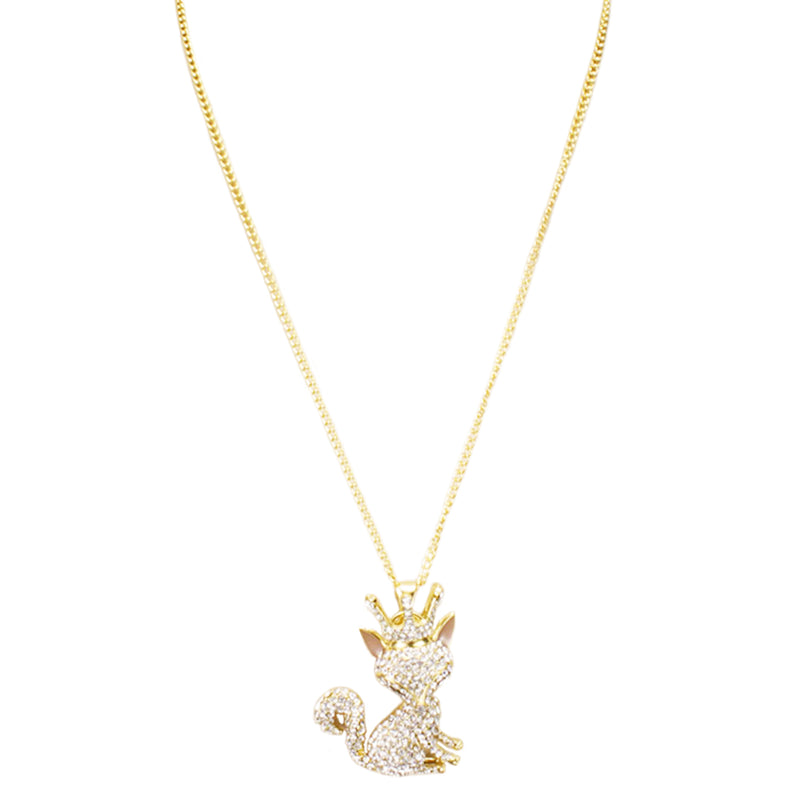 Fashion Giant 3D Crystal Fox with Crown Long Necklace - Tioneer