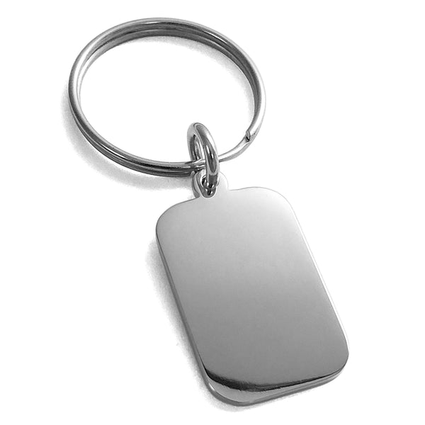 Stainless Steel Engravable Small Rectangle Dog Tag Charm Keychain Keyring - Tioneer