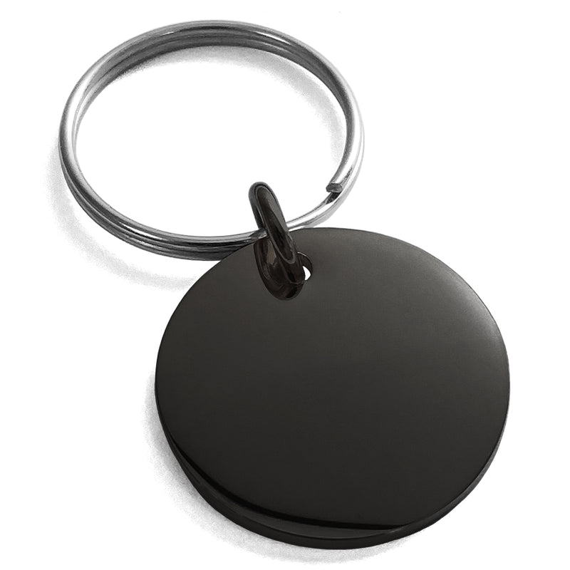 Stainless Steel Engravable Small Medallion Circle Charm Keychain Keyring - Tioneer