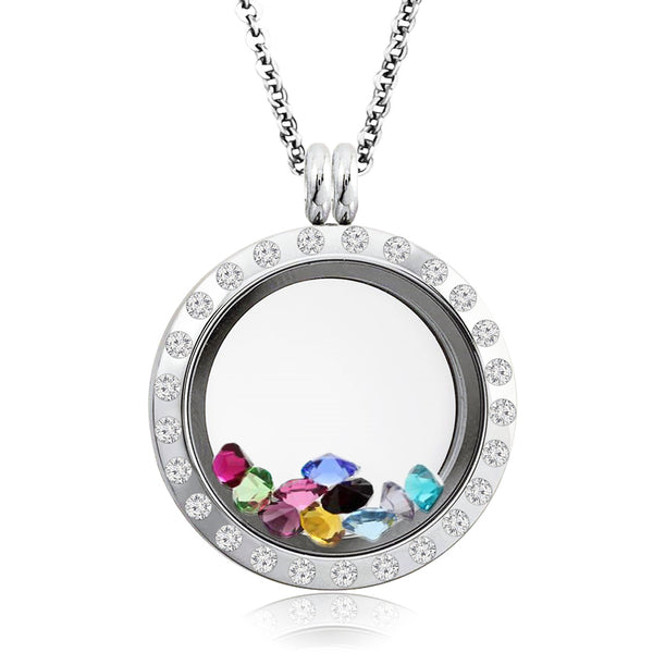 20 MM Stainless Steel Brilliant White Crystals Floating Glass Charm Living Memory Locket Pendant Necklace - Tioneer