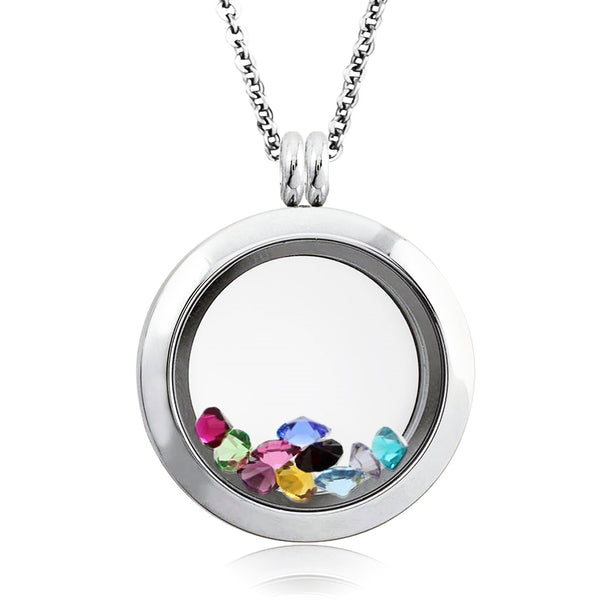 25 MM Stainless Steel Floating Glass Charm Living Memory Locket Pendant Necklace - Tioneer