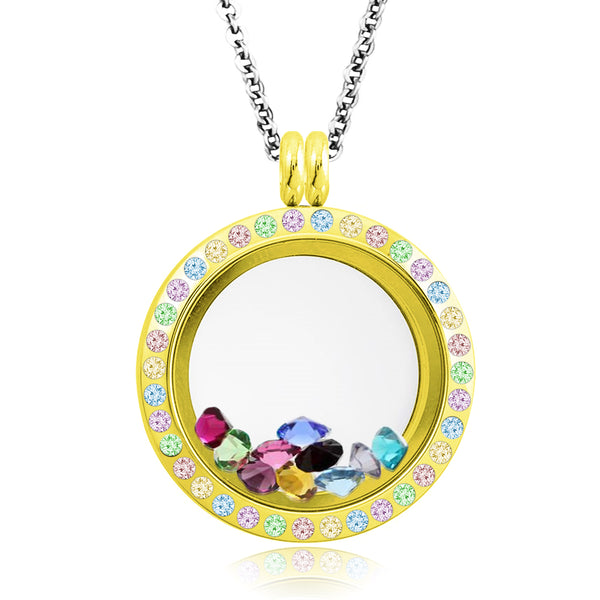 25 MM Stainless Steel Multicolor Crystals Floating Glass Charm Living Memory Locket Pendant Necklace - Tioneer