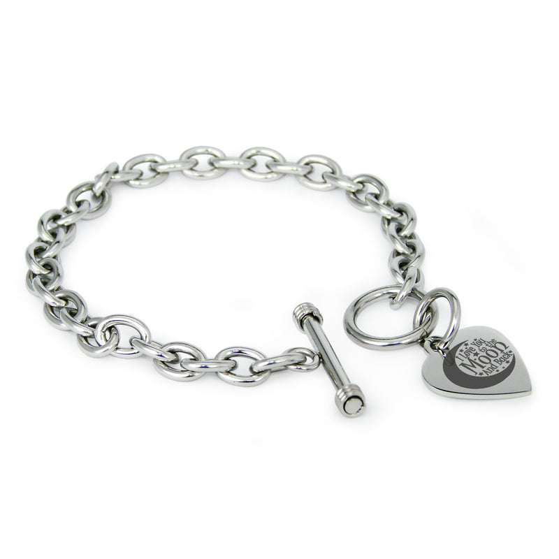 Stainless Steel Crescent I Love You to the Moon and Back Engraved Heart Charm Toggle Link Bracelet - Tioneer