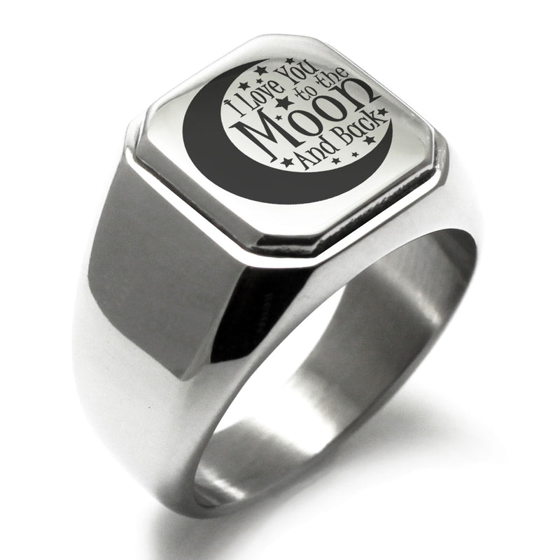 Stainless Steel Crescent I Love You to the Moon and Back Engraved Square Flat Top Biker Style Polished Ring - Tioneer