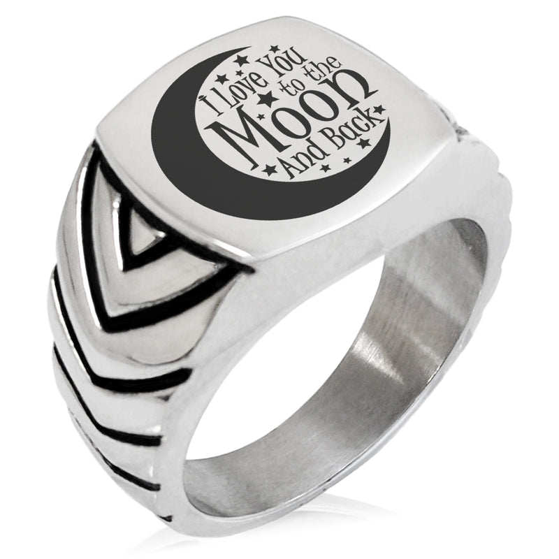 Stainless Steel Crescent I Love You to the Moon and Back Chevron Pattern Biker Style Polished Ring - Tioneer