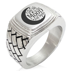 Stainless Steel Crescent I Love You to the Moon and Back Geometric Pattern Step-Down Biker Style Polished Ring - Tioneer