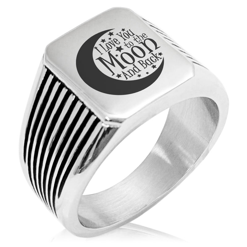 Stainless Steel Crescent I Love You to the Moon and Back Needle Stripe Pattern Biker Style Polished Ring - Tioneer