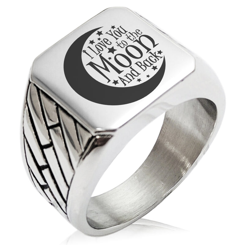 Stainless Steel Crescent I Love You to the Moon and Back Geometric Pattern Biker Style Polished Ring - Tioneer