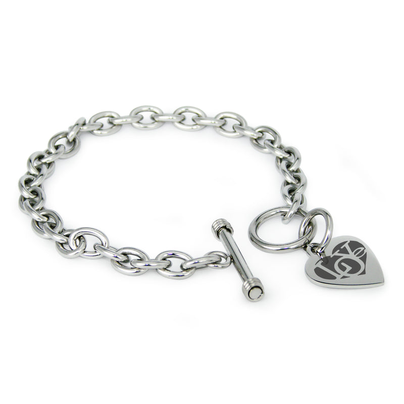Stainless Steel Iconic Love Heart Engraved Heart Charm Toggle Link Bracelet - Tioneer