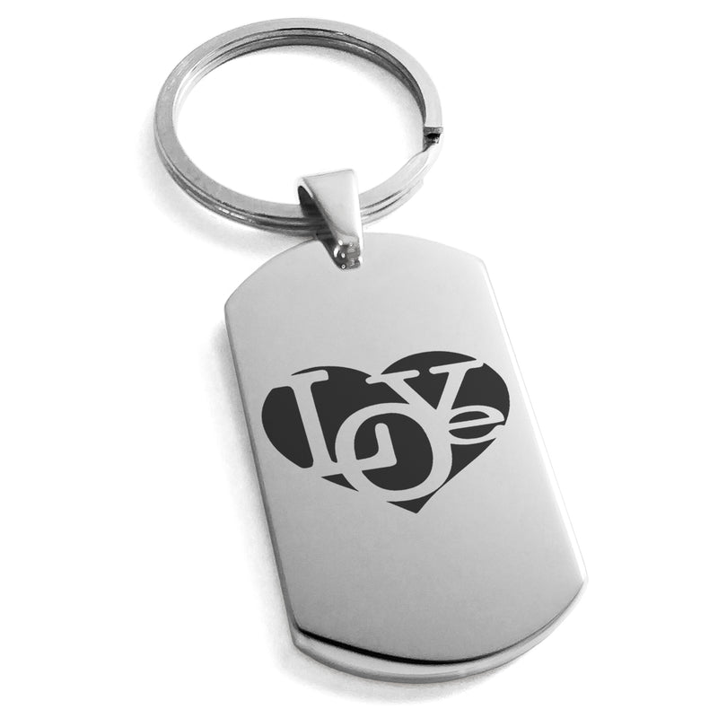 Stainless Steel Iconic Love Heart Engraved Dog Tag Keychain Keyring - Tioneer
