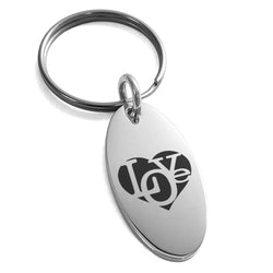 Stainless Steel Iconic Love Heart Engraved Small Oval Charm Keychain Keyring - Tioneer