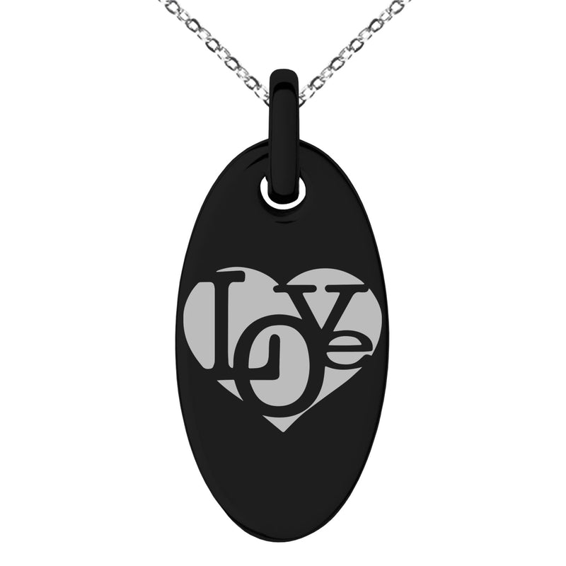 Stainless Steel Iconic Love Heart Engraved Small Oval Charm Pendant Necklace