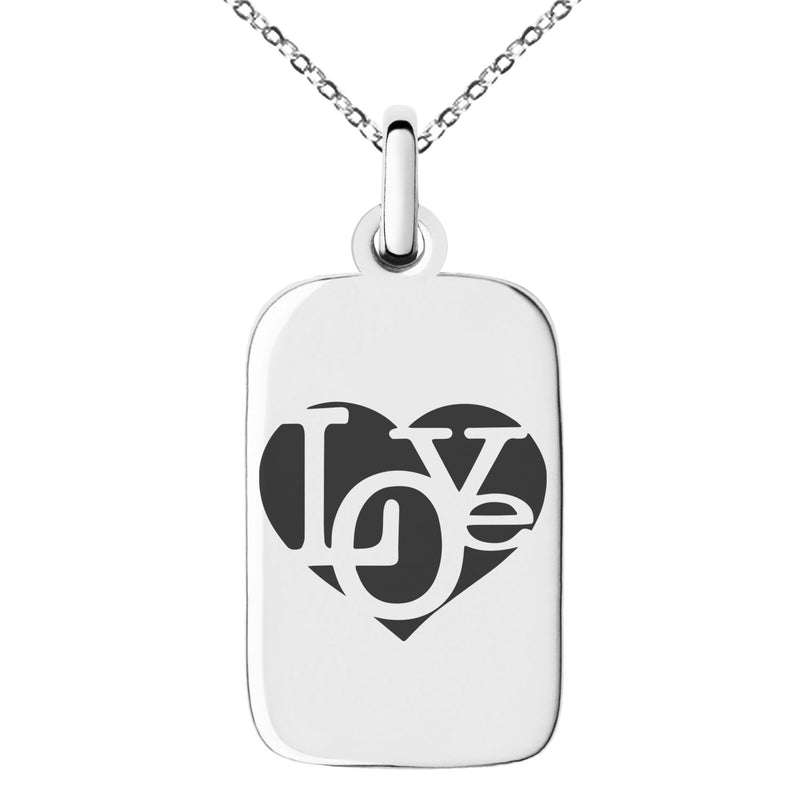 Stainless Steel Iconic Love Heart Engraved Small Rectangle Dog Tag Charm Pendant Necklace