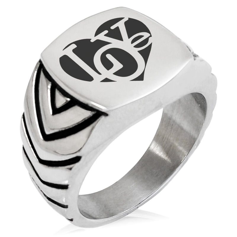Stainless Steel Iconic Love Heart Chevron Pattern Biker Style Polished Ring - Tioneer