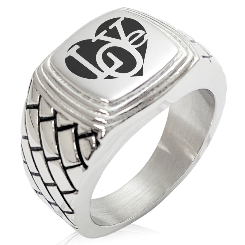 Stainless Steel Iconic Love Heart Geometric Pattern Step-Down Biker Style Polished Ring - Tioneer