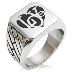 Stainless Steel Iconic Love Heart Geometric Pattern Biker Style Polished Ring - Tioneer
