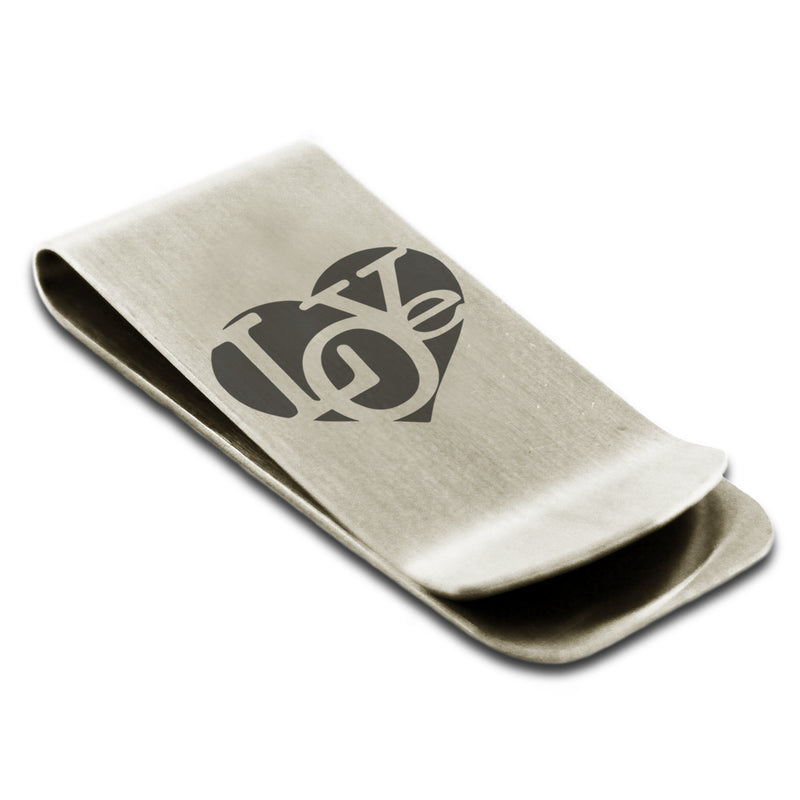 Stainless Steel Iconic Love Heart Engraved Money Clip Credit Card Holder - Tioneer