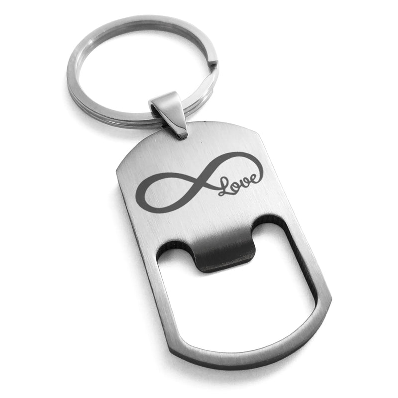 Stainless Steel Infinity Love Engraved Bottle Opener Dog Tag Keychain Keyring - Tioneer