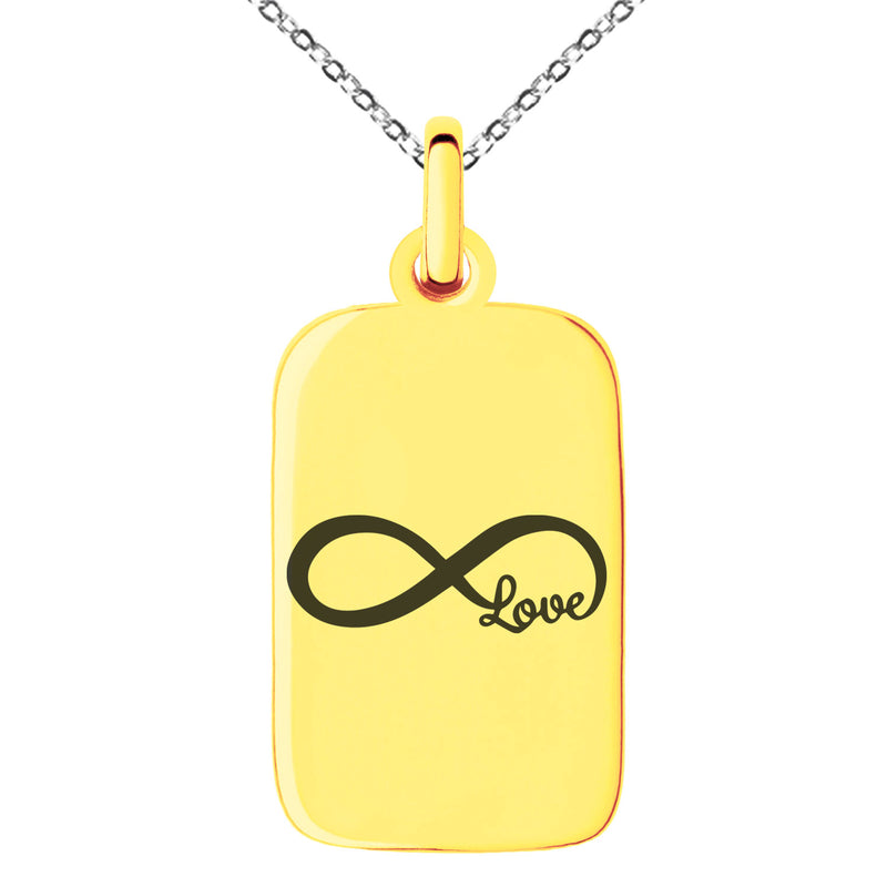 Stainless Steel Infinity Love Engraved Small Rectangle Dog Tag Charm Pendant Necklace