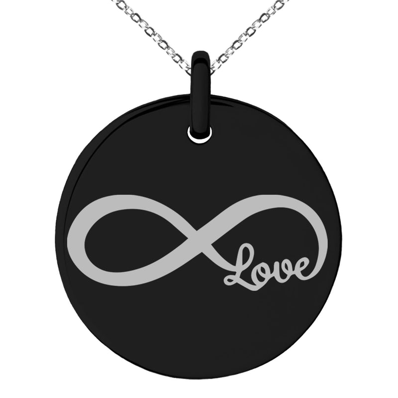 Stainless Steel Infinity Love Engraved Small Medallion Circle Charm Pendant Necklace