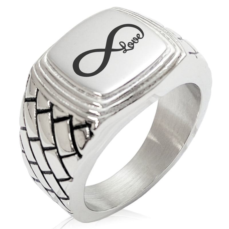 Stainless Steel Infinity Love Geometric Pattern Step-Down Biker Style Polished Ring - Tioneer