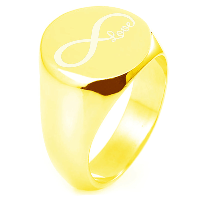 Sterling Silver Infinity Love Engraved Round Flat Top Polished Ring - Tioneer
