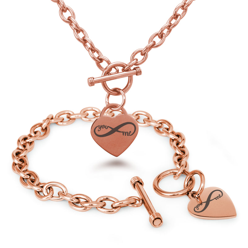 Stainless Steel You and Me Infinity Engraved Heart Charm Toggle Link Bracelet Necklace Set - Tioneer