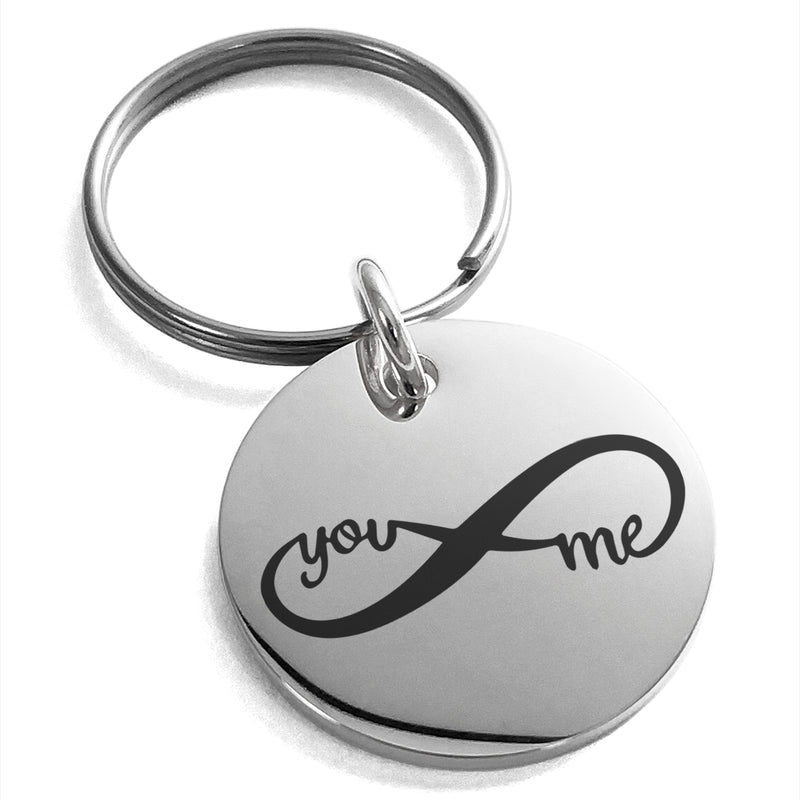 Stainless Steel You and Me Infinity Engraved Small Medallion Circle Charm Keychain Keyring - Tioneer