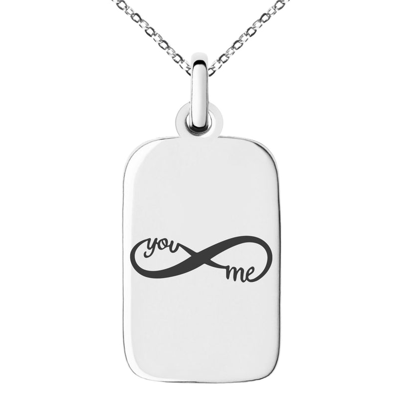 Stainless Steel You and Me Infinity Engraved Small Rectangle Dog Tag Charm Pendant Necklace - Tioneer